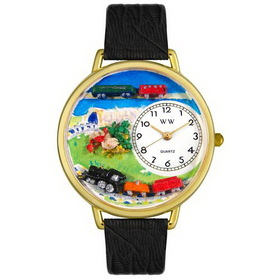 Whimsical Watches Trains Gold Watch
