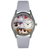 Whimsical Watches Bunnies Silver Watch