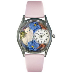 Whimsical Watches White Cat Silver Watch