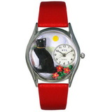 Whimsical Watches Basking Cat Silver Watch