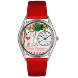 Whimsical Watches Christmas Puppy Silver Watch
