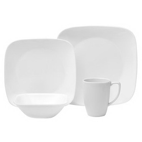 CORELLE 1069958 Square Pure White 16-pc Dinnerware Set