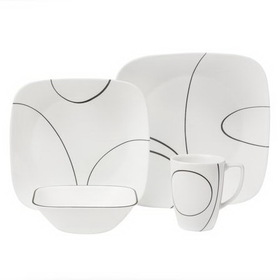 CORELLE 1069983 Square Simple Lines 16-pc Dinnerware Set