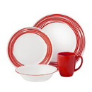 CORELLE 1117028 Boutique Brushed 16-Pc Dinnerware Set, Red
