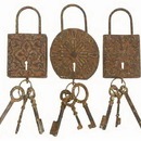 Woodland 13906 Vintage Locks And Keys Metal Wall Art Decor Sculpture
