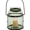 Woodland 23801 Metal Glass Lantern with Solid Metal Frame