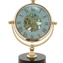 Benzara 24381 Elegant Brass Nickel Table Clock
