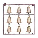 Woodland 26723 Metal Bell Square Wall Plaque with 9 Bells and Rustic Look