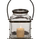 Woodland 34698 Metal Glass Lantern in Worn and Aged Finish