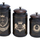 Woodland 38121 Canisters with Cylindrical Jars & Matching Lids - Set of 3
