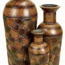 Woodland 41720 Set/3 Shabby Brown Metal Flower Vase 50