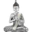 Woodland 44236 Poly Stone Sitting Buddha Assorted with Silver Finish