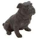 Woodland 44718 Antique Poly Stone Sitting Bulldog Statue