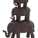 Woodland 44725 Trio Stack of Poly Stone African Elephants