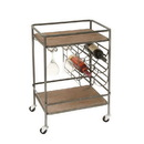 Benzara 48673 Stylish Metal Wood Wine Rack Cart