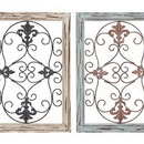 Woodland 50229 Wood Metal Wall Panel with Intricate Design - Set of 2
