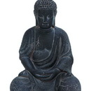 Woodland 50811 Fiber Clay Buddha in Antiqued Black Finish with Fine Detailing