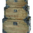 Woodland 53173 Vintage Appeal Wooden Trunk with Fitted Bolts- Set of 3