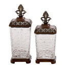 Benzara 53507 Antique themed Polystone Glass Jar Set of 2