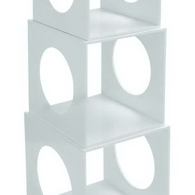 Woodland 62557 Modern Stackable Storage Cube Set In White