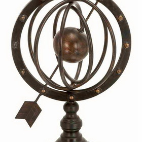 "Woodland 66472 17"" Metal Armillary Sphere Globe Solar Earth W Arrow"