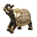 Woodland 69477 Indian Style Polystone Decorative Elephant with Gold Accents