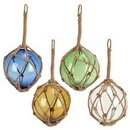 Woodland 71580 GLASS FLOAT WITH ROPE Set of 4 ASSORTED 9