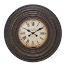 Woodland 89240 Wall Clock in Vintage inspired Pattern and Dark Brown Finish