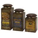 Benzara IMX-73046-3 Addie Vintage Label Wood And Metal Canisters - Set of 3