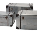 Benzara IMX-74408-3 Brewer Aluminum Trunks - Set of 3