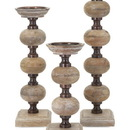 Benzara IMX-81670-3 Conventional Nahla Wood Candlesticks - Set of 3