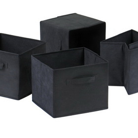 Winsome 22411 Wood Capri Set of 4 Foldable Black Fabric Baskets