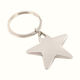 K-STAR02 Silver Mirror Finish Star Key Chain, Price/Each