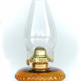 "W.T. Kirkman No. 107 Bracket Oil Lamp, Amber Glass, 12"" Overall Height"