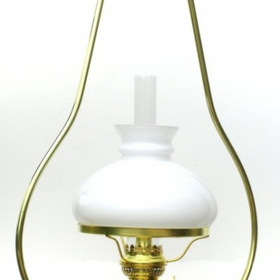 "W.T. Kirkman ""Cottage"" Hanging Solid Brass Oil Lamp, White Shade"