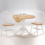 "International Concepts T02-42DP 42"" Round Dual Drop Leaf Ped Table, White / Natural"