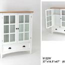 Wayborn 9122W Bookcase W/Glass Door, 47'' x 37'' x 14.5'', White
