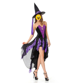 TOPTIE Witch Costume, Halloween Costume Ideas - Purple High-Low Dress